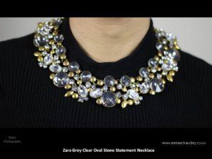 Zara Grey Clear Oval Stone Statement Necklaces